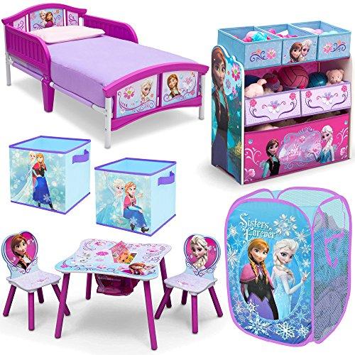 Disney Delta Children Frozen Elsa and Anna 8-Piece Furniture Set – Plastic  Toddler Bed, Table and Chair Set, Multi Bin Toy Organizer, 2-Pack Storage  Cube ... - Disney Delta Children Frozen Elsa And Anna 8-Piece Furniture Set